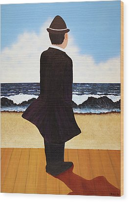 Boardwalk Man Wood Print