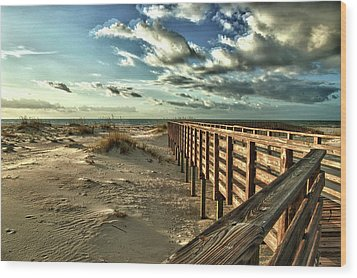 Boardwalk On The Beach Wood Print by Michael Thomas