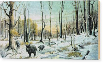 Boars In Winter - Sold Wood Print by Florentina Popa