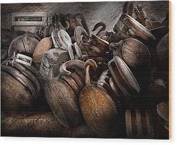 Boat - Block And Tackle  Wood Print by Mike Savad