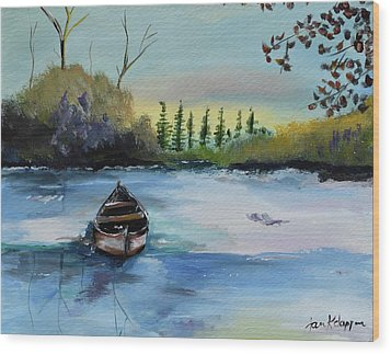 Wood Print featuring the painting Boat Abandoned On The Lake by Jan Dappen