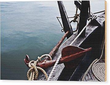 Boat Anchor Wood Print by Rena Trepanier