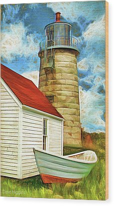 Boat And Lighthouse, Monhegan, Maine Wood Print by Dave Higgins