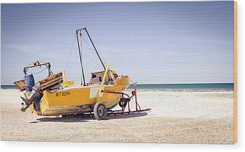 Wood Print featuring the photograph Boat And The Beach by Silvia Bruno
