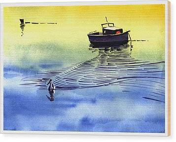Boat And The Seagull Wood Print