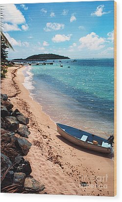 Boat Beach Vieques Wood Print by Thomas R Fletcher