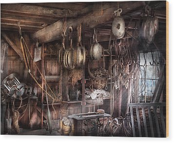 Boat - Block And Tackle Shop  Wood Print by Mike Savad