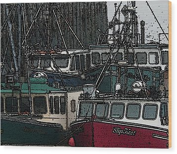 Boat City 2 Wood Print by Roger Charlebois