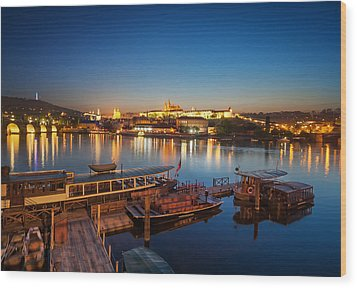 Boat Dock Near St. Vitus Cathedral, Prague, Czech Republic. Wood Print