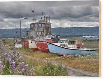 Boat Graveyard Wood Print