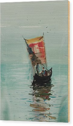 Boat Wood Print by Helal Uddin