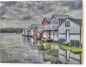 Boat Houses In The Finger Lakes Wood Print