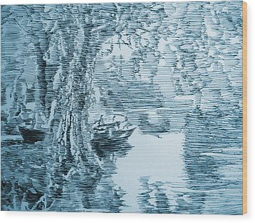 Boat In Blue Wood Print by Robbi  Musser