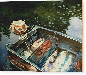 Boat In Fog 2 Wood Print by Marilyn Jacobson