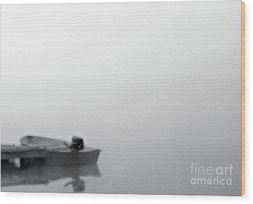 Boat In Fog On Lake Black And White Wood Print by Randy Steele