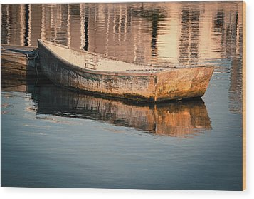 Boat In The Harbor Wood Print