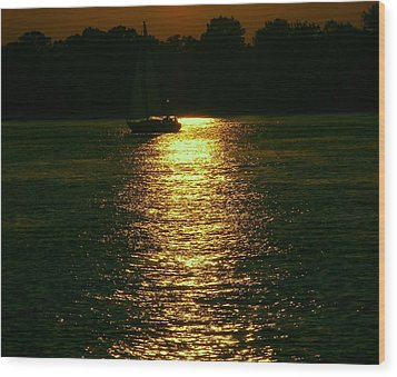 Boat In The Reflection Wood Print by D R TeesT