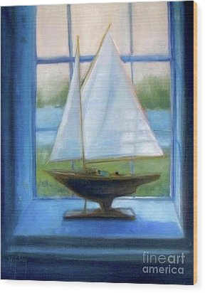 Boat In The Window Wood Print