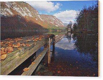 Boat Mooring At Lake Bohijn Wood Print
