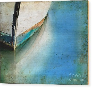 Wood Print featuring the photograph Bow Of An Old Boat Reflecting In Water by Jill Battaglia
