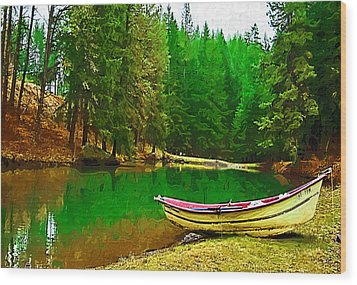 Boat Of The Lake Wood Print by Dale Stillman