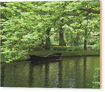 Wood Print featuring the photograph Boat On A Lake by Manuela Constantin