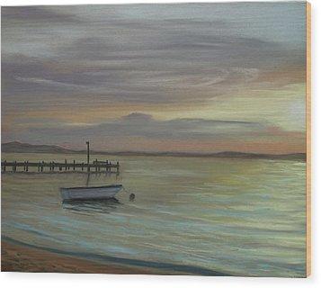 Boat On Bay Wood Print by Joan Swanson
