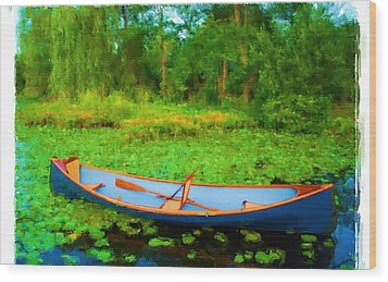 Boat On Bryant Pond Wood Print by Jonathan Galente