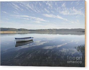 Boat On Knysna Lagoon Wood Print by Neil Overy