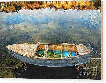 Boat On Lake Wood Print by Silvia Ganora