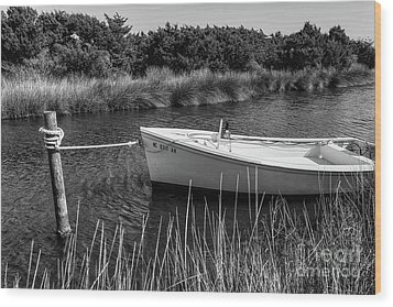 Boat On Pamlico Sound Ocracoke Island Outer Banks Bw Wood Print by Dan Carmichael