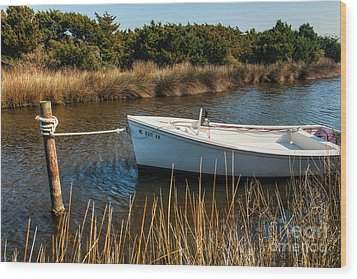 Boat On Pamlico Sound Ocracoke Island Outer Banks Wood Print by Dan Carmichael