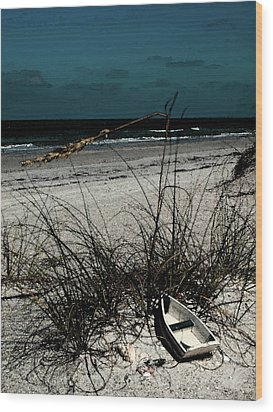 Boat On The Beach Wood Print by Randy Sylvia