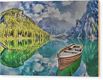 Boat On The Lake Wood Print