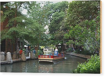 Boat On The San Antonio River Wood Print by Dennis Stein