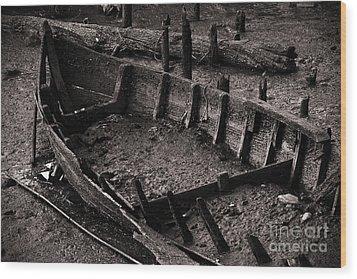 Boat Remains Wood Print by Carlos Caetano