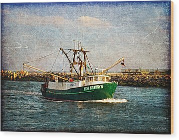 Boat Texture Manasquan Inlet Wood Print by Angel Cher