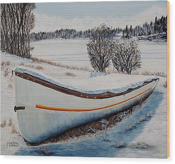 Wood Print featuring the painting Boat Under Snow by Marilyn  McNish