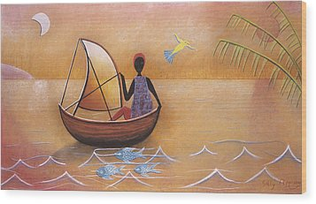 Boat With Blue Fish Wood Print by Sally Appleby