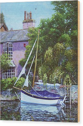 Wood Print featuring the painting Boat With Pink House On River by Martin Davey