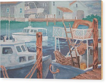 Wood Print featuring the painting Boat Works by Tony Caviston