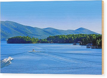 Boaters On Smith Mountain Lake Wood Print by The American Shutterbug Society