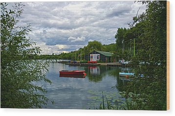 Boathouse Wood Print by Anne Kotan