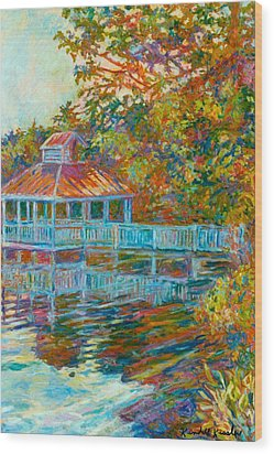 Boathouse At Mountain Lake Wood Print by Kendall Kessler