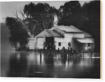 Wood Print featuring the photograph Boathouse Bw by Bill Wakeley