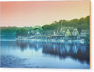 Boathouse Row Wood Print by Bill Cannon