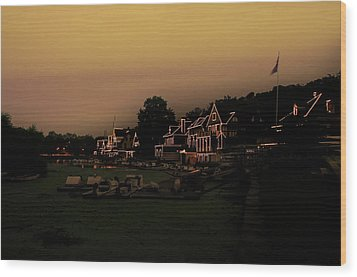 Wood Print featuring the photograph Boathouse Row From The Lagoon Before Dawn by Bill Cannon