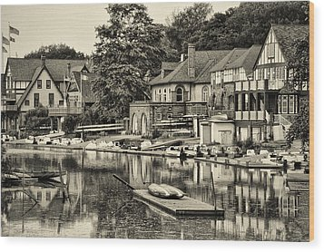 Boathouse Row In Sepia Wood Print by Bill Cannon