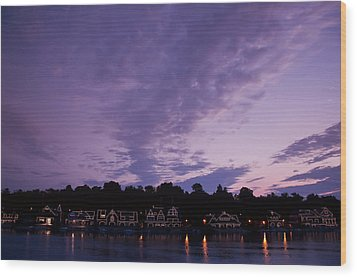 Boathouse Row In Twilight Wood Print by Bill Cannon