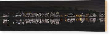 Boathouse Row Panorama - Philadelphia Wood Print by Brendan Reals
